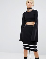 Puma Fenty X By Rihanna Cropped Top With Extreme Long Sleeves Black Black