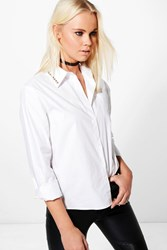 Boohoo Grace Studded Collar Shirt White