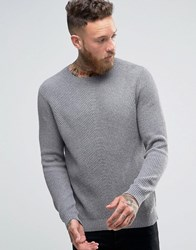 Asos Crew Neck Cashmere Mix Ribbed Jumper In Grey Grey