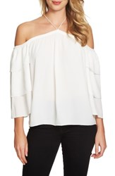 1.State Women's Cold Shoulder Blouse New Ivory