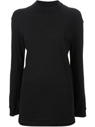 Bassike Wide Funnel Neck T Shirt Black