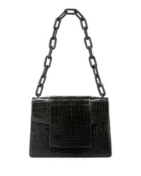 Nancy Gonzalez Crocodile Flap Top Chain Shoulder Bag Gray Patterned