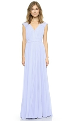 Rebecca Taylor Poly Pleated Gown Icy Blue