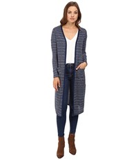Splendid Alline Stripe Loose Knit Duster Cardigan Navy Women's Sweater