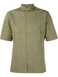 Christophe Lemaire Lemaire Panelled Short Sleeve Shirt Brown
