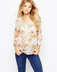 Denim And Supply Ralph Lauren Denim And Supply By Ralph Lauren 3 4 Sleeve Lace Boho Blouse Savannah Floral Multi
