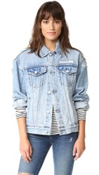 Ksubi Oversized Jean Jacket Trashed Blue