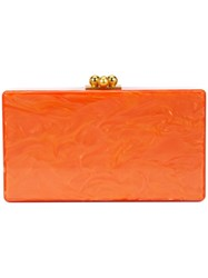 Edie Parker Marbled Effect Clutch Yellow Orange