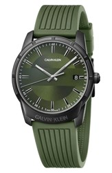 Calvin Klein Evidence Silicone Band Watch 42Mm Green Black