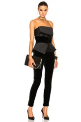 Zuhair Murad Velvet Stretch Fitted Jumpsuit In Black