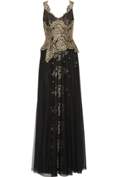 Notte By Marchesa Embroidered Tulle Gown Black