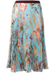 I'm Isola Marras Floral Print Pleated Skirt Blue