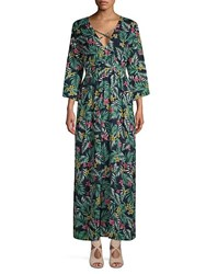Lucca Couture Hayden Plunging Maxi Dress Navy Multi