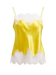 Carine Gilson Lace Trimmed Silk Satin Camisole Yellow
