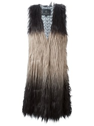 Unreal Fur Three Tone Faux Fur Gilet Grey