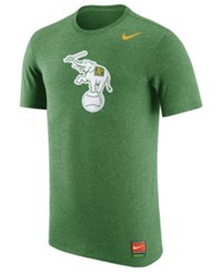 Nike Men's Oakland Athletics Coop Tri Blend T Shirt Elephant Green