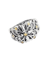 Effy Balissima Sterling Silver With 18Kt. Yellow Gold Flower Ring
