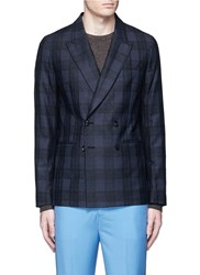 Paul Smith 'Soho' Boucle Check Plaid Double Breasted Soft Blazer Blue
