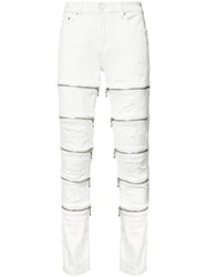 God's Masterful Children Leg Zips Slim Fit Jeans White