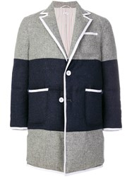 Thom Browne Bicolor Down Filled Sack Fit Wool Overcoat Grey