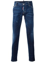 Dsquared2 Crotch Packo Whiskered Jeans Blue