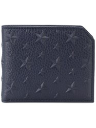 Jimmy Choo Albany Bi Fold Wallet Calf Leather Blue