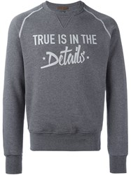 Eleventy Quote Print Sweatshirt Grey