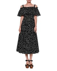 Dolce And Gabbana Off Shoulder Ruffled Polka Dot Dress Black White Black White