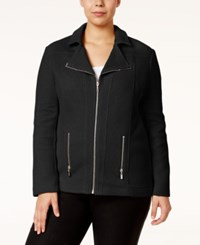 Alfani Plus Size Textured Moto Jacket Only At Macy's Deep Black