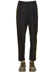 Valentino 21.5Cm Wool Blend Pants W Side Bands Black