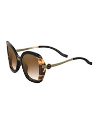 Elie Saab Square Acetate Sunglasses Black Havana