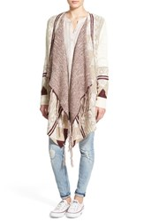 Junior Women's Sun And Shadow Fringe Trim Blanket Cardigan White Snow Falcon Jacquard