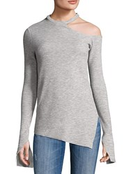 Saks Fifth Avenue One Shoulder Asymmetrical Hem Top Grey