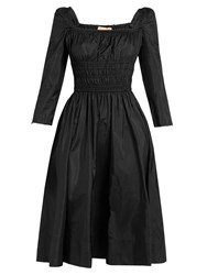 Brock Collection Dorothy Square Neck Taffeta Dress Black