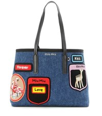 Miu Miu Tote With Applique Blue