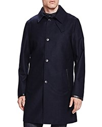 The Kooples New Flannel Twill Slim Fit Trench Coat Navy
