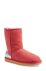 Women's Ugg 'Classic Short Serape' Water Resistant Boot Sunset Red Suede