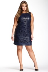 Julia Jordan Metallic Vegan Leather Laser Cut Dress Plus Size Blue