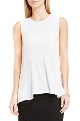 Vince Camuto Sleeveless Ruffle Front Blouse White