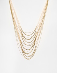 Warehouse Multi Row Chain And Bead Necklace Gold