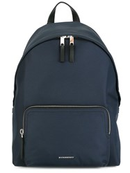 Burberry Logo Plaque Plain Backpack Blue