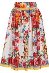 Dolce And Gabbana Floral Print Silk Twill Midi Skirt Red