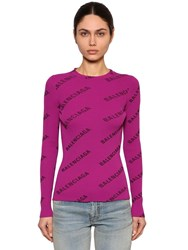 Balenciaga Crewneck Logo Print Rib Knit Sweater Purple