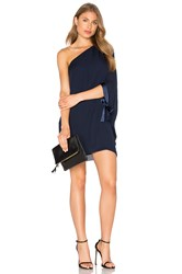 Halston Asymmetrical Sleeve Mini Dress Navy