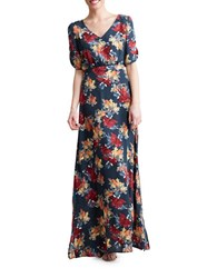 Paper Crown Cannes Floral Gown Blue