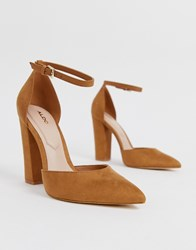 Aldo Nicholes Heeled Court Shoes With Ankle Strap In Brown