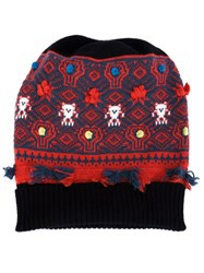 Barrie Intarsia Knit Beanie Black