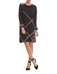 Nic Zoe Plus Long Sleeve Checked Studded Shift Dress Black Grey Multi
