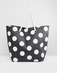 South Beach Dotted Tote Bag With Rope Handle Black
