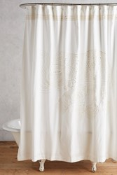 Anthropologie Embroidered Elephant Shower Curtain Gold
